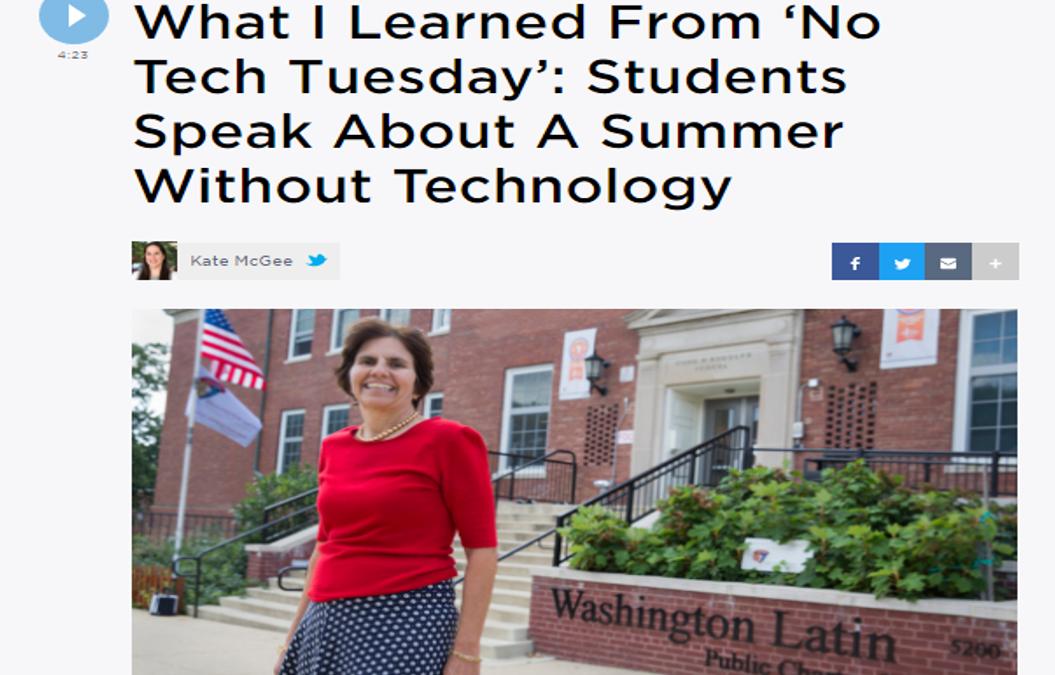 WAMU Reports on Latin's No Tech Tuesday Challenge