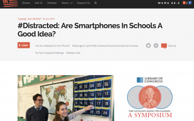 NPR Features Principal Smith and 9th Grader Lydia Moore on Smartphones in Schools