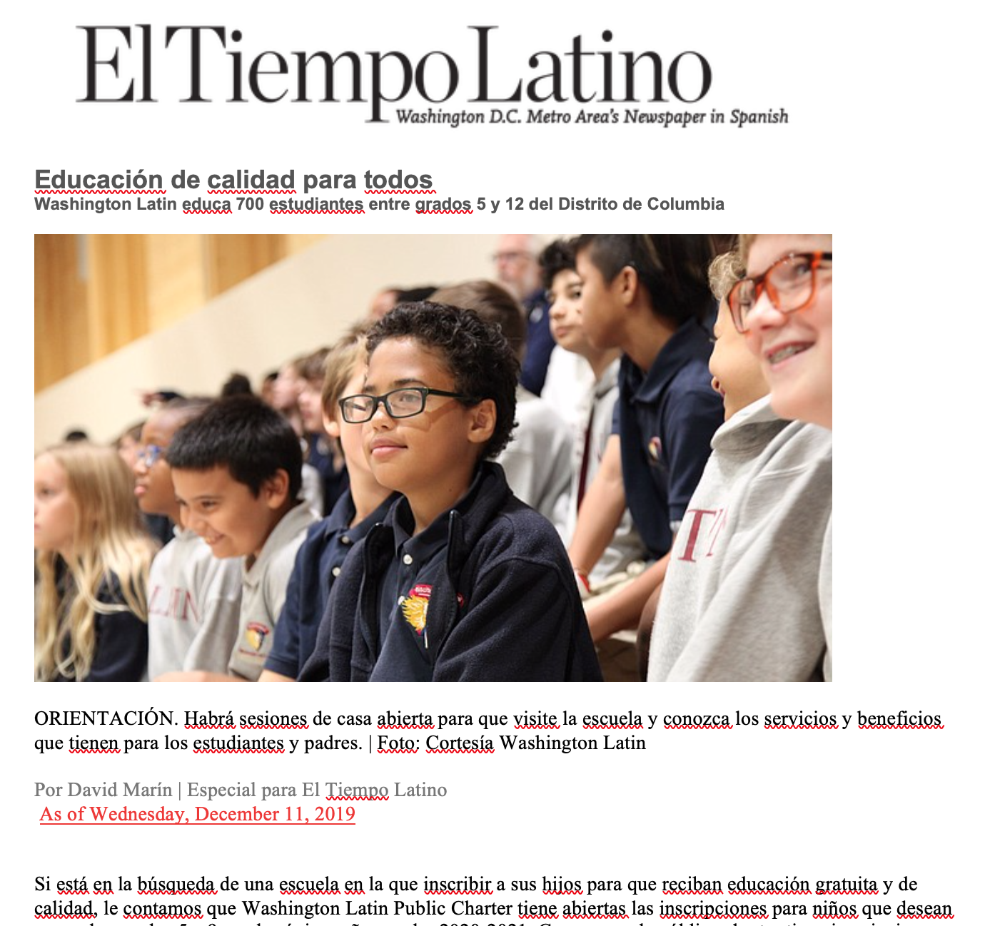 Latin featured in El Tiempo Latino