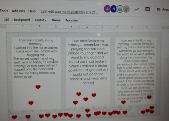 Fifth Graders Tell Their Stories